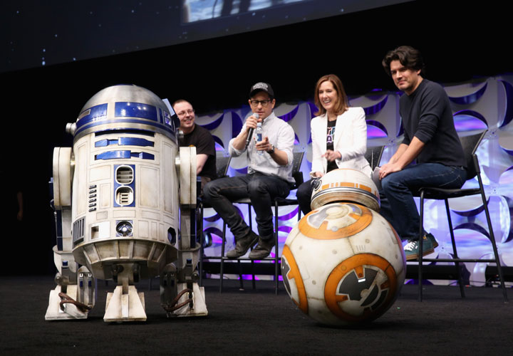 Droid builder Oliver Steeples, director J.J. Abrams, producer Kathleen Kennedy and moderator Anthony Breznican with R2-D2 and BB-8 onstage during Star Wars Celebration 2015 on April 16, 2015 in Anaheim, California.
