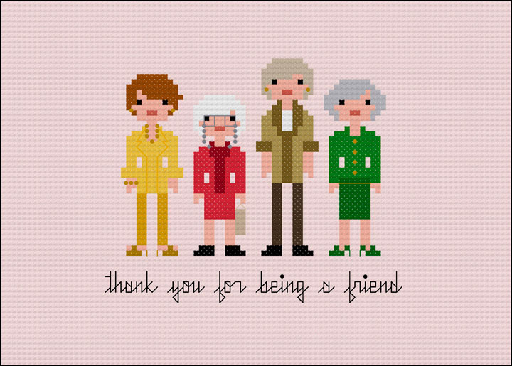 """This photo provided by Wee Little Stitches shows The Golden Girls. """"I think my favorite design is the Golden Girls pattern. I have such fond memories of watching the show with my Grandmother when I was a child. We used to laugh and laugh,"""" says the founder of Wee Little Stiches, Jacqueline Gable. Wee Little Stitches designs are available at: Weelittlestitches.etsy.com."""