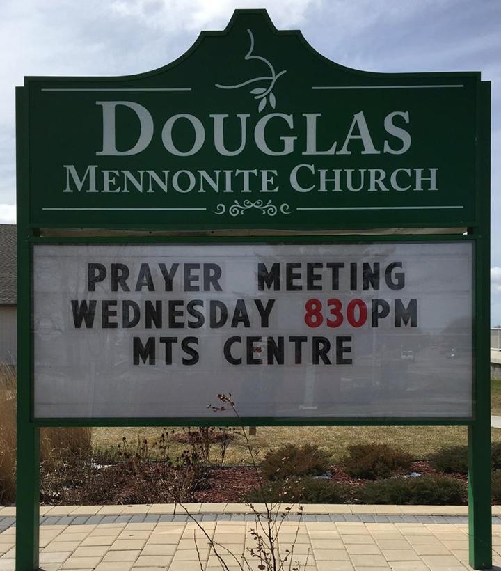Winnipeg Jets Douglas Mennonite Church sign