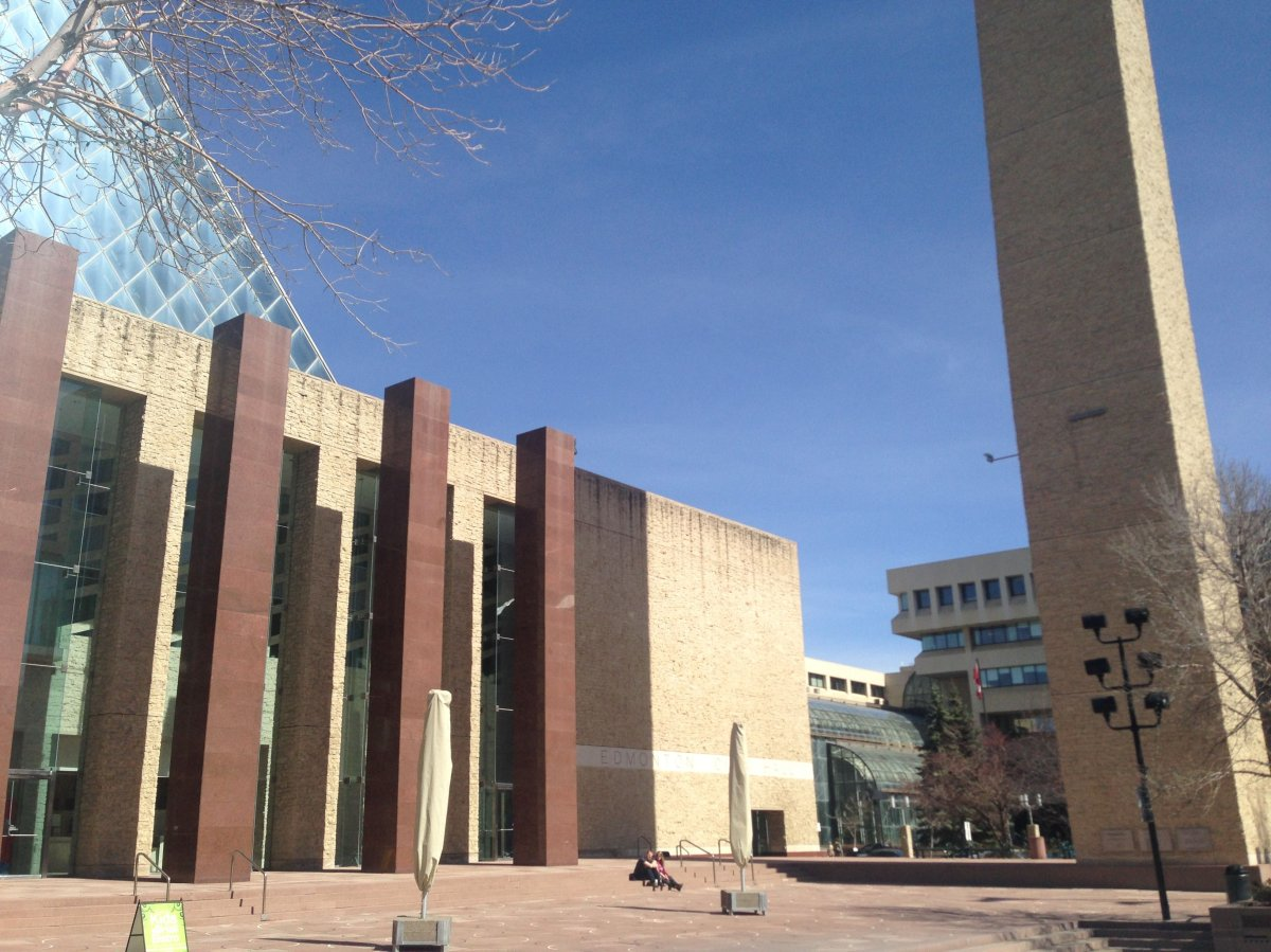 City hall in downtown Edmonton, Alberta. April 16, 2015.