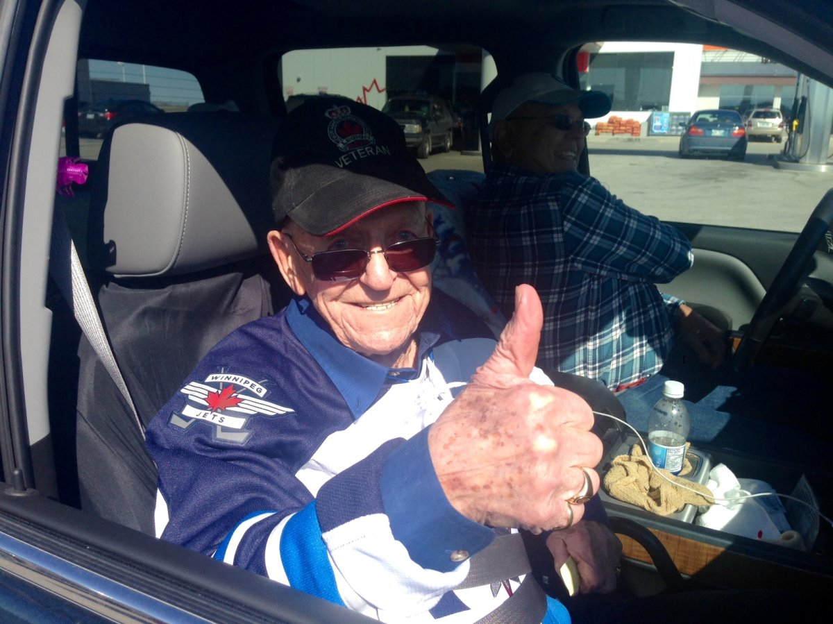 Len Kropioski, better know as Kroppy, is one of the best-known Winnipeg Jets fans. The veteran is always pictured in the front row singing along to the Canadian anthem and saluting.