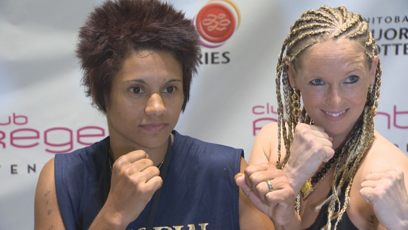 "Simone Da Silva Duarte (left) and Olivia Gerula (right) at the weigh-in for ""High Stakes Havoc""."