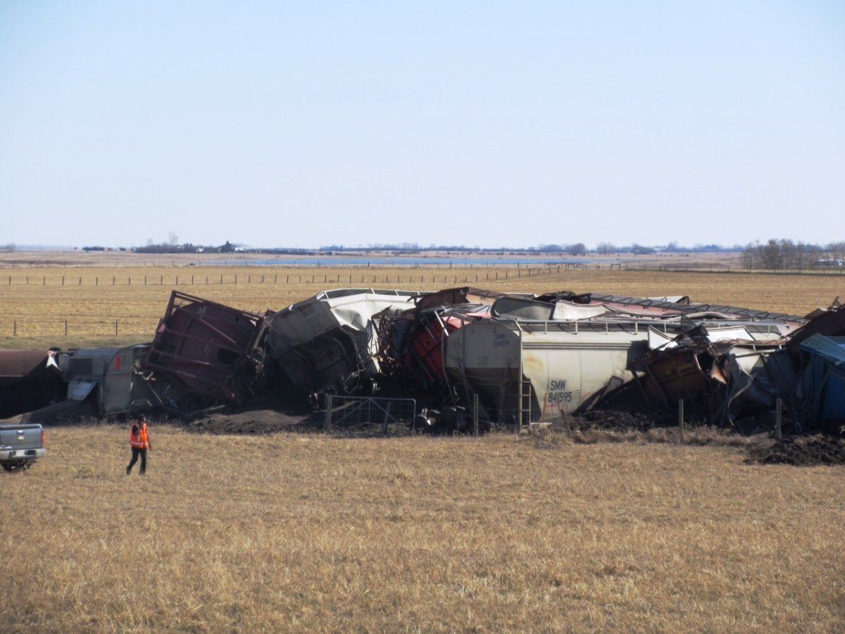 24 CN Rail train cars derailed in southern Alberta on Friday, April 10th, 2015.
