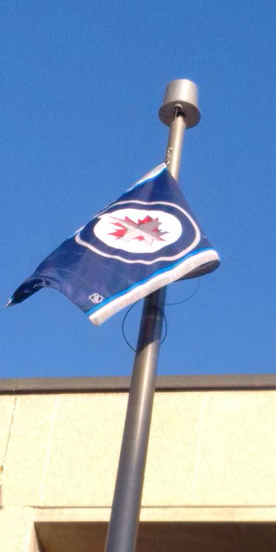 Winnipeg City Hall Jets flag NHL Playoffs