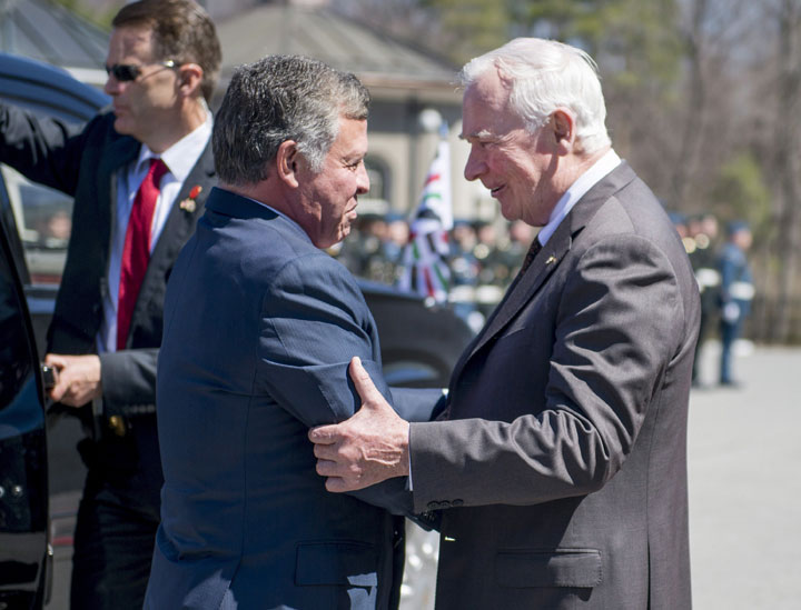 Governor General David Johnston welcomes King Abdullah II of Jordan at Rideau Hall in Ottawa for a state visit on Wednesday, April 29, 2015.