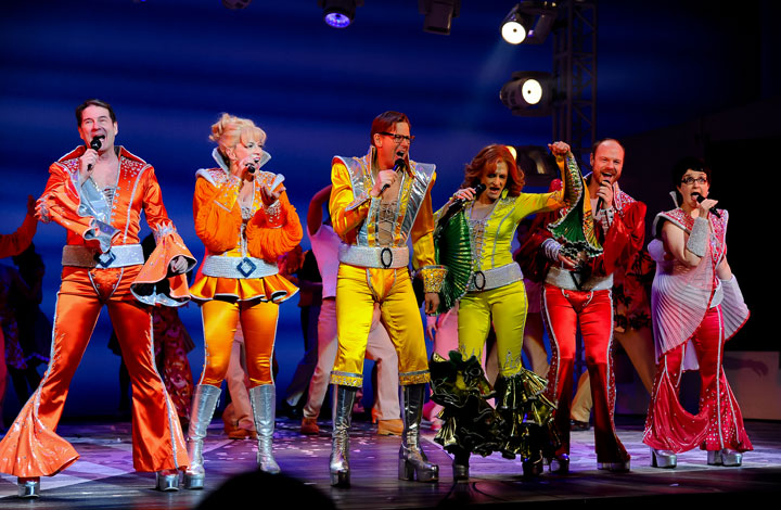 Cast members in the Broadway production of 'Mamma Mia!,' pictured in 2014.