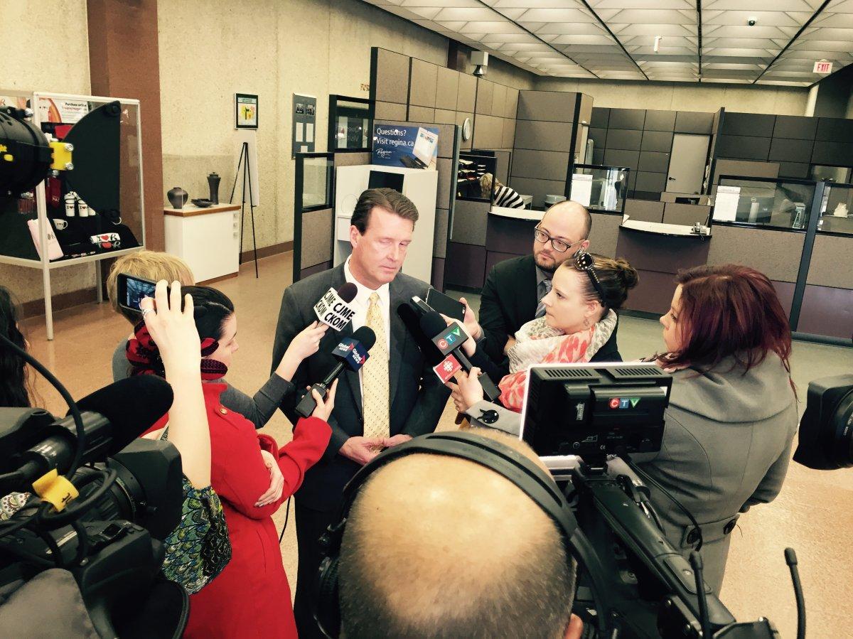 Mayor Michael Fougere addresses the media on Wednesday.
