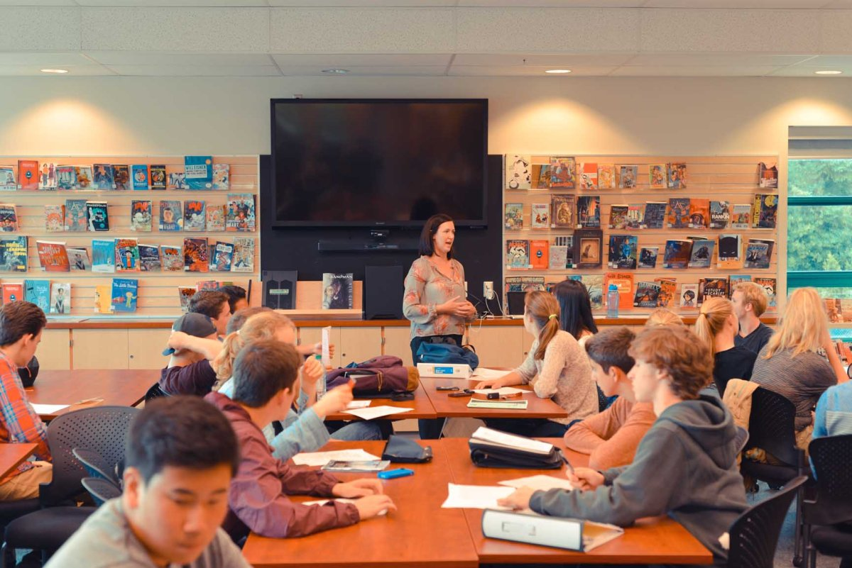 One of the program's teachers, Jo-Anne McKee, leading a YELL classroom in West Vancouver.