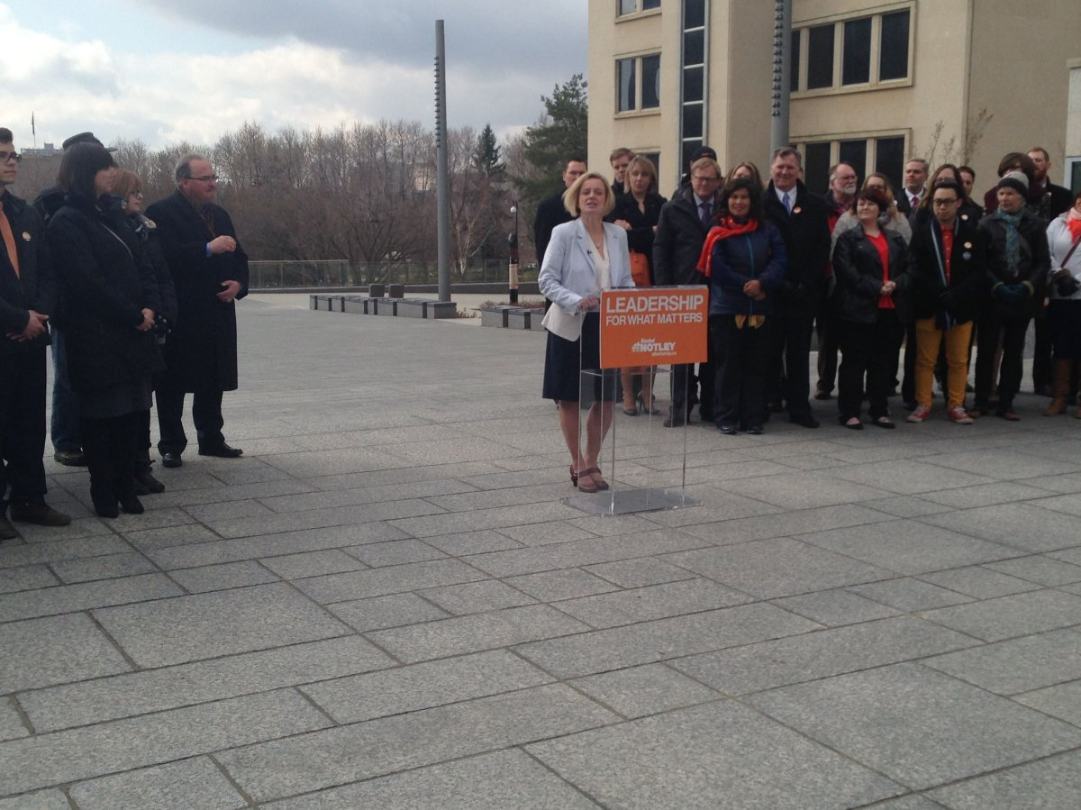 Alberta NDP leader Rachel Notley officially launches her party's election campaign, Tuesday, April 7, 2015.