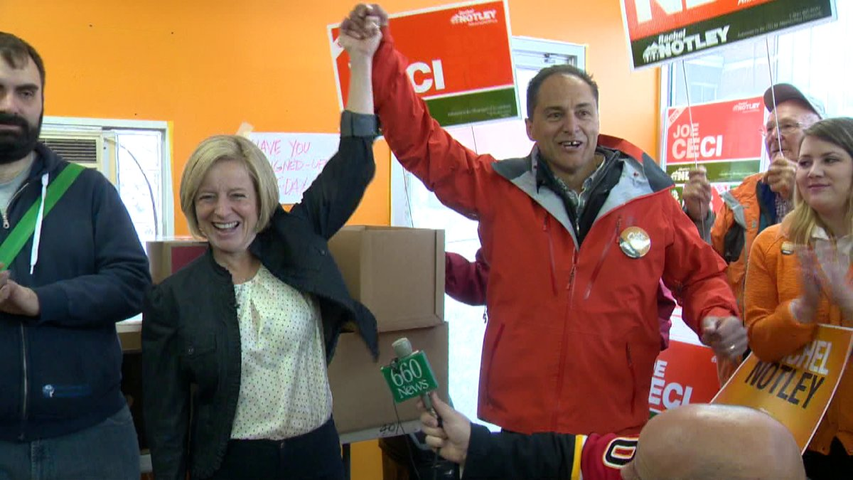 NDP leader Rachel Notley in the Calgary-Fort riding Saturday, with former Councillor Joe Ceci, the area NDP candidate.