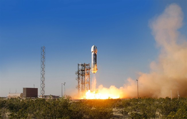 Blue Origin's New Shepard space vehicle blasts off on its first developmental test flight over Blue Origin's west Texas Launch Site in April 2015.