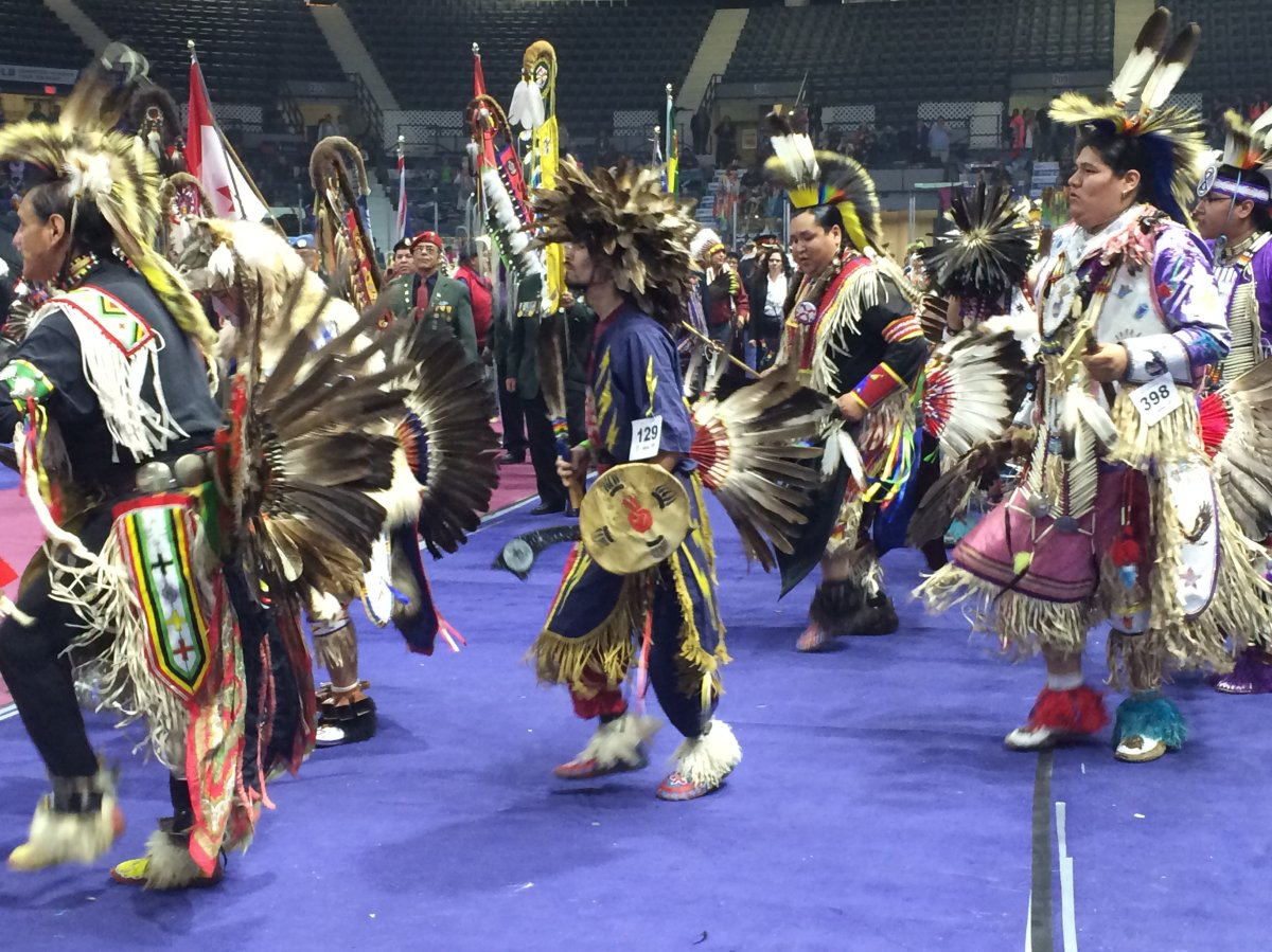 Dancers show off traditional clothes at the 37th annual Spring Pow-wow.