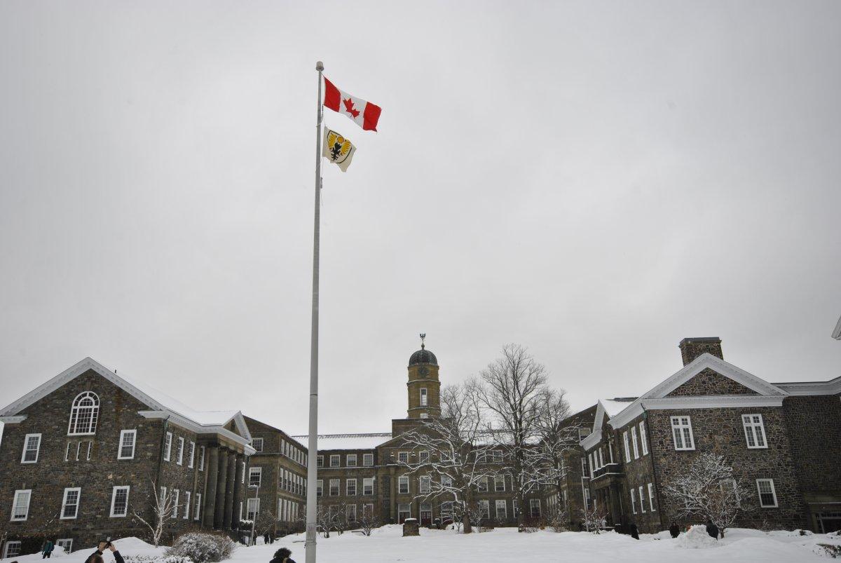 "Divest Dalhousie raised this ""Shellhousie"" flag on campus Tuesday, April 7, 2015."