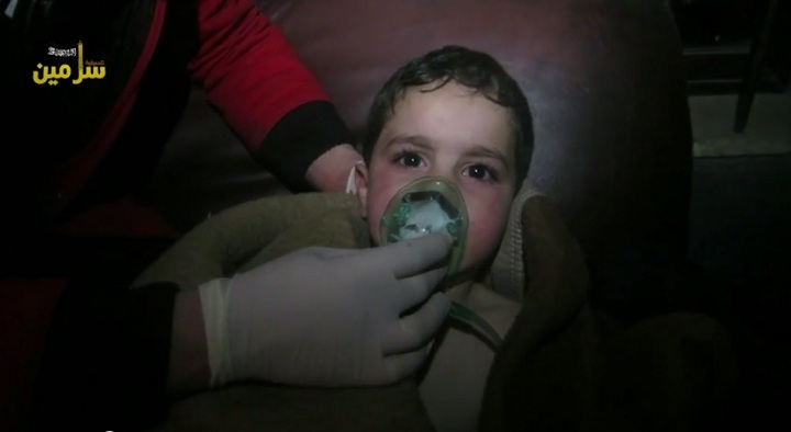Video from local media activists in Syria's Idlib governate shows a child being treated after a purported chlorine gas attack on March 16, in the town of Sarmeen.