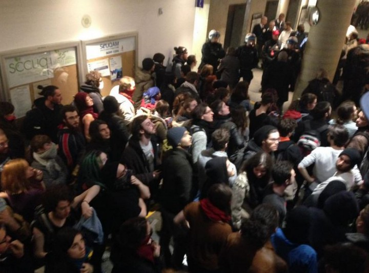 Protesters at UQAM