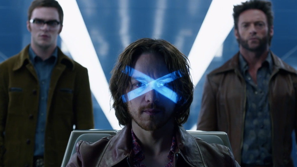 Nicholas Hoult, James McAvoy and Hugh Jackman in 'X-Men: Days of Future Past.'.