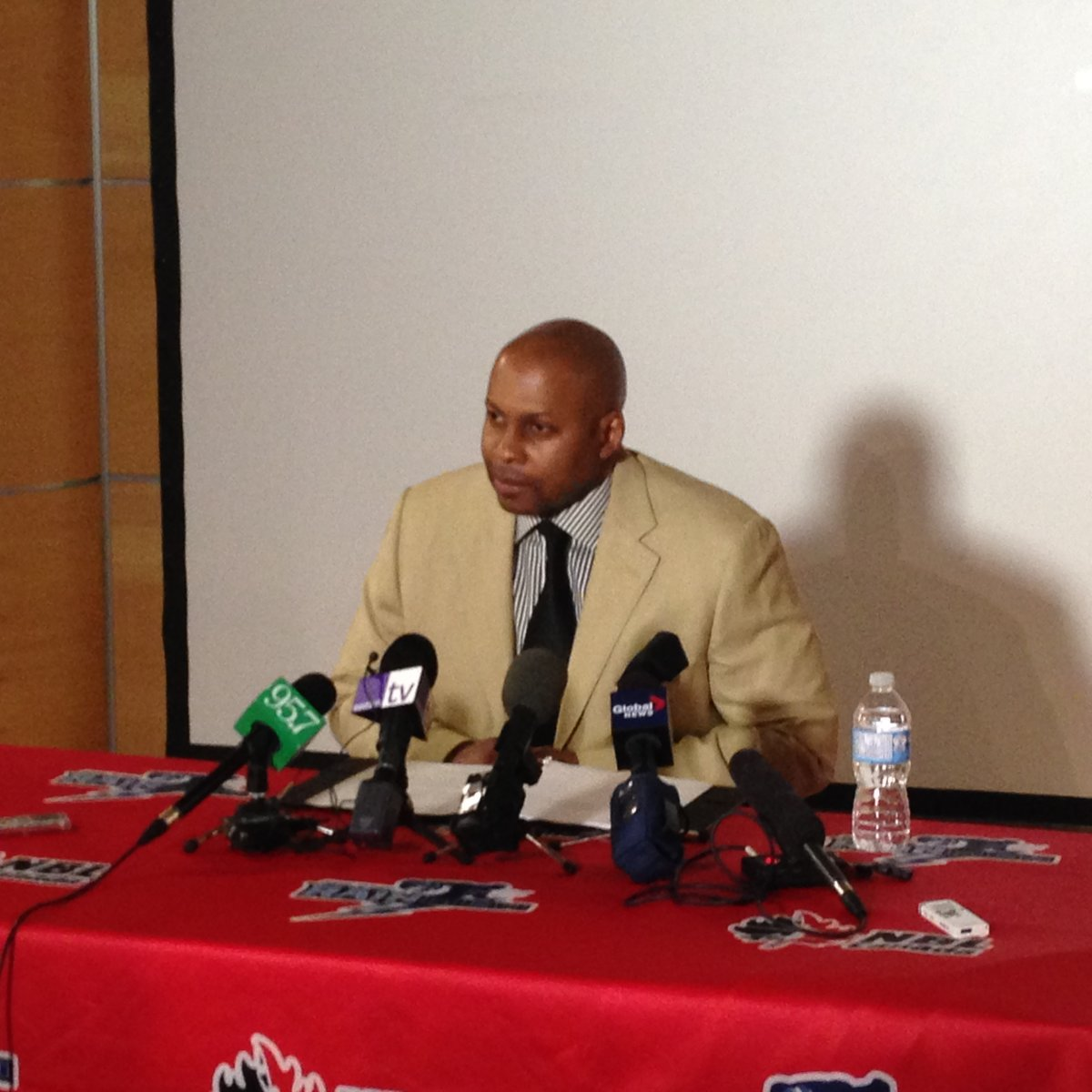 Andre Levingston addresses the media in May, 2015.