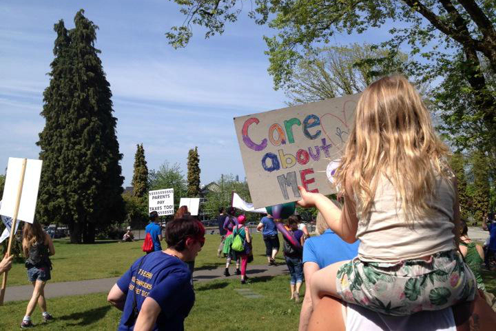 Rallies were held across B.C. to demand more affordable child care. Many Canadians are hoping to see effective child care funding strategies in the new federal budget.
