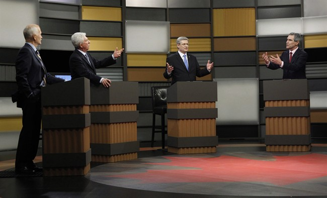 NDP Leader Jack Layton, left to right, Bloc Quebecois Leader Gilles Duceppe, Prime Minister Stephen Harper and Liberal Leader Michael Ignatieff debate during the French language federal election debate in Ottawa on Wednesday, April 13, 2011. The Conservative party wants to increase the number of election debates, but also change who gets to host them.