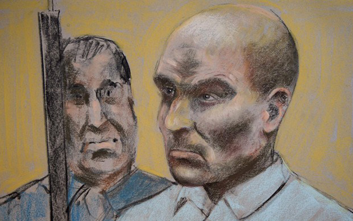 Charest is seen on a court drawing during a bail hearing Monday, March 16, 2015 in St-Jerome, Que.