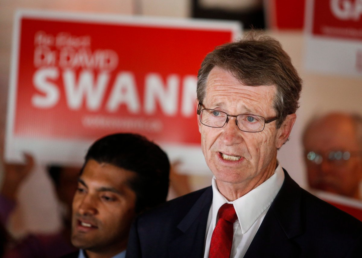 Alberta Liberal Leader David Swann makes a policy announcement in Calgary, Alta., Monday, April 27, 2015.