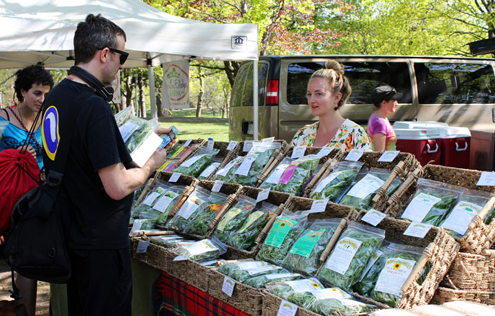 A vendor at the Dufferin Grove Farmer's Market in Toronto speaks to a customer.