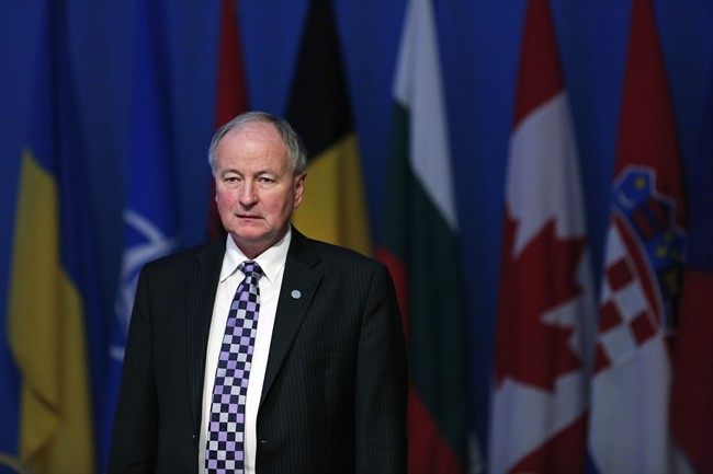 Canada's Foreign Minister Robert Nicholson arrives for a working session regarding the situation in Ukraine, during the NATO Foreign Ministers conference in Antalya, Turkey, Wednesday, May 13, 2015.