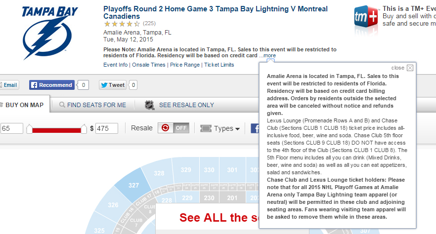 This disclaimer makes it clear that non-Florida residents aren't welcome at Tampa Bay Lightning games