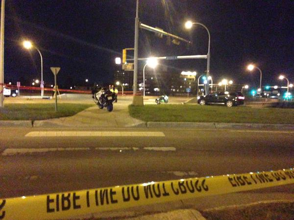 One woman was killed and a man left in serious condition following a fatal hit and run between a car and a motorcycle on the 122 Street overpass at Whitemud Drive in southwest Edmonton.