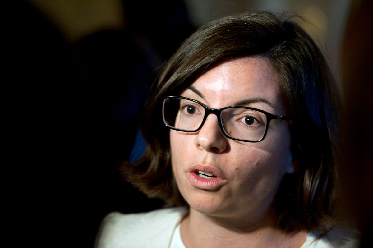 Niki Ashton, NDP MP for Churchill, addresses the media at a national caucus strategy session on Tuesday, September 10, 2013 in Saskatoon. THE CANADIAN PRESS/Liam Richards.
