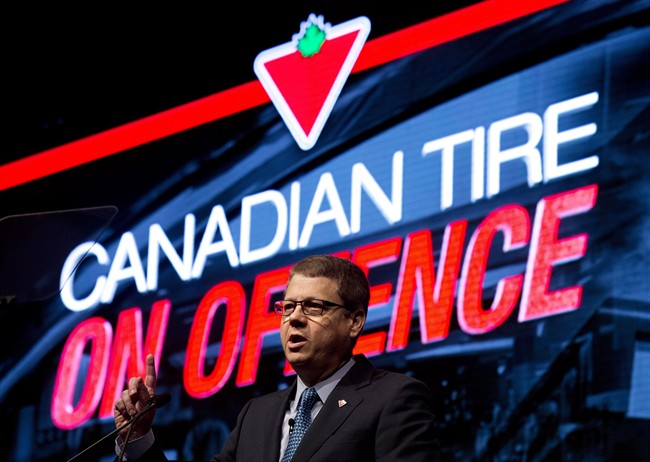 Canadian Tire's Michael Medline speaks at the company's annual meeting in Toronto in May.