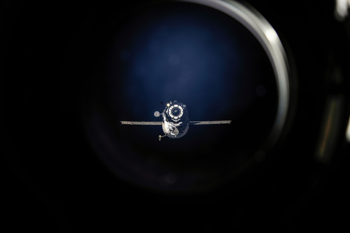 A Russian Progress  resupply ship undocks from the International Space Station in 2013.