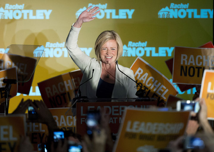 NDP leader Rachel Notley speaks on stage after being named Alberta's new Premier in Edmonton on Tuesday, May 5, 2015.