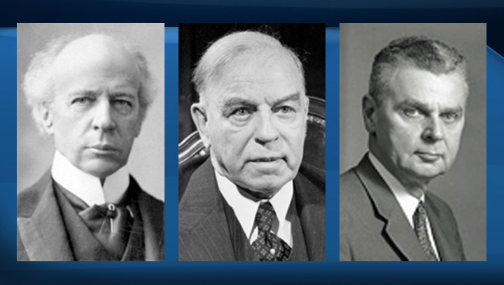 Sir Wilfrid Laurier (left), William Lyon Mackenzie King (centre) and John Diefenbaker (right).