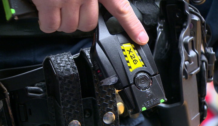 An officer used a Taser on an aggressive dog while responding to a domestic dispute, according to Saskatoon police.