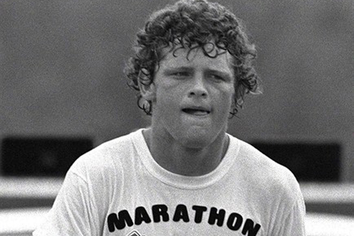 Terry Fox continues his Marathon of Hope run across Canada in this Aug., 1980 file photo.