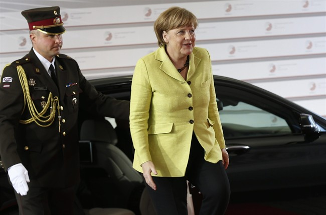 German Chancellor Angela Merkel arrives for a formal dinner at the Eastern Partnership summit in Riga, on Thursday, May 21, 2015.