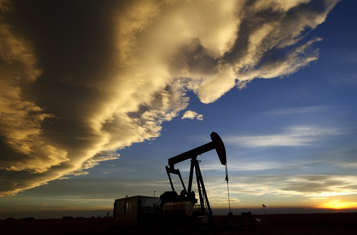 An oil well belonging to Cenovus Energy, near Brooks, Alberta.