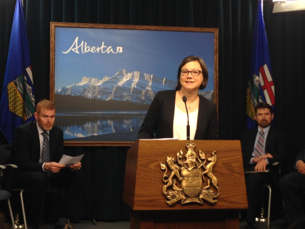 Environment Minister Shannon Phillips announces changes to Alberta's climate policy, June 2015.