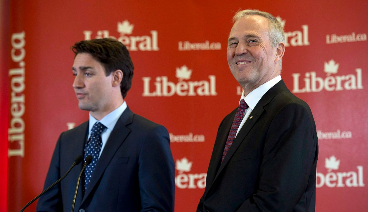 Former Toronto police chief Bill Blair smiles during a news conference with Liberal Leader Justin Trudeau in Ottawa, Monday April 27, 2015.