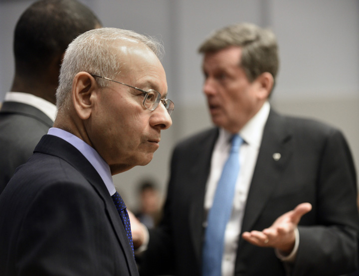 Alok Mukherjee (left) current chair of the Toronto Police Services Board and Toronto Mayor John Tory before the start of a Toronto Police Services Board meeting on April 2 2015.