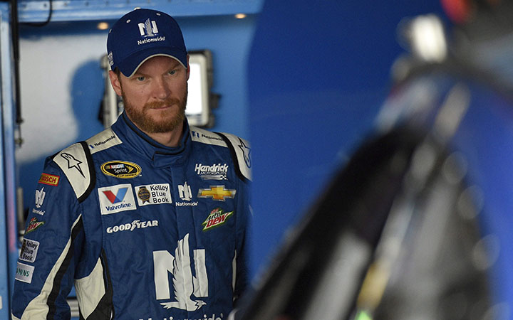 Dale Earnhardt Jr. looks on during practice, Friday, May 29, 2015, for Sunday's NASCAR Sprint Cup series auto race at Dover International Speedway in Dover, Del.