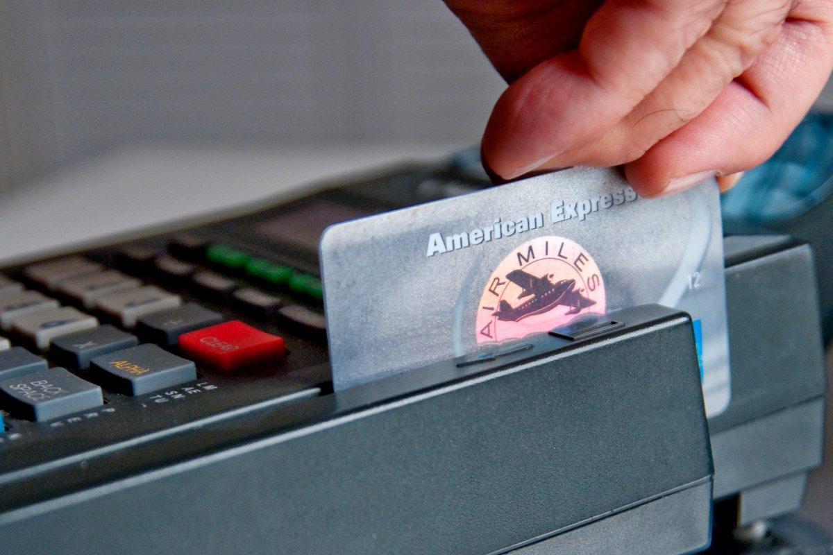 American Express/Air Miles card going through a PIN terminal.
