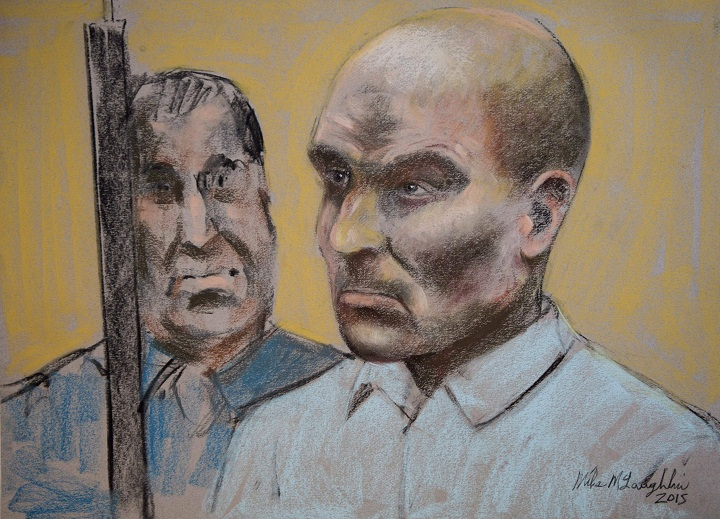 Bertrand Charest is seen on a court drawing during a bail hearing, in March 2015 in St-Jerome, Que. Charest has been denied bail once again, meaning he will remain behind bars pending his trial on 57 sex-related charges.