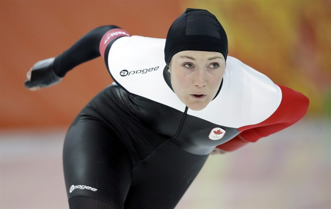 Canada's Anastasia Bucsis skates during a test race at the Adler Arena Skating Center during the 2014 Winter Olympics in Sochi, Russia.