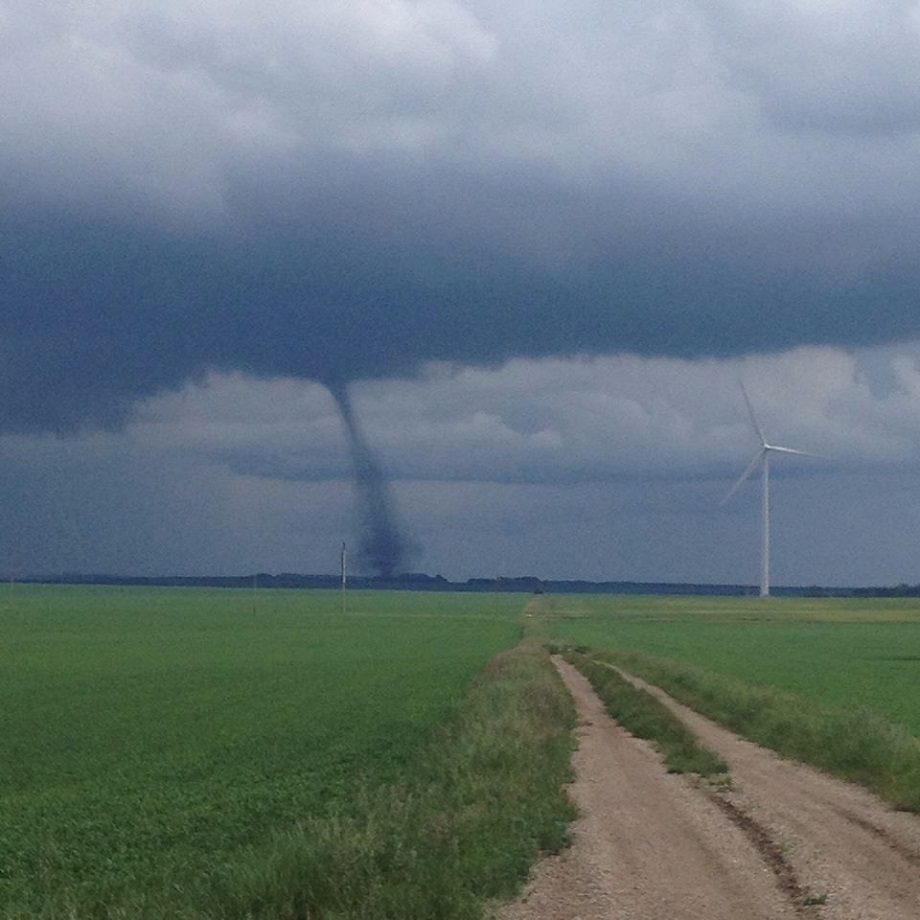 Tornado touches down near Manitou Wednesday afternoon.