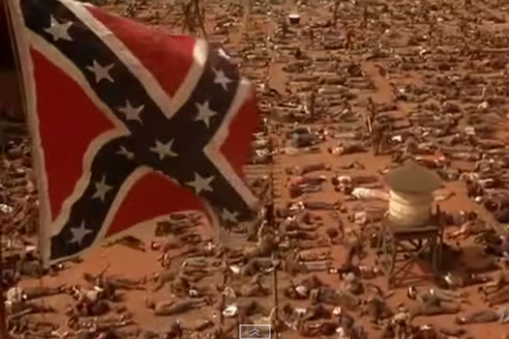 The Confederate flag appears in a scene from 'Gone with the Wind.'.