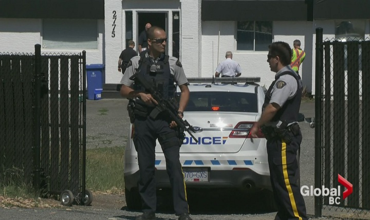 There was a heavy police presence at an alleged biker clubhouse in Langford on June 17, 2015.