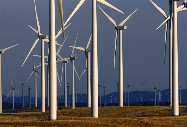 This May 6, 2013 file photo shows a wind turbine farm.
