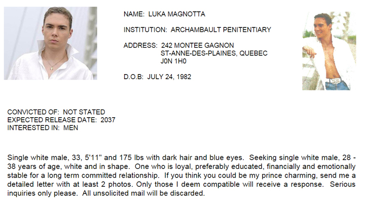 Luka Magnotta Joins Dating Site For Canadian Prisoners Globalnews Ca